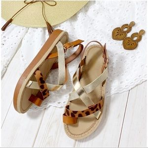 Strappy leopard metallic sandals